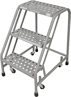 """product image for Cotterman 1003N1820A6E10B3C1P1 All Welded Ready to Use Rolling Steel Safety Ladder, 3-Step, 30"""" Top Step Height, Performa Perforated Tread, 450 lb Capacity (Pack of 2.)"""