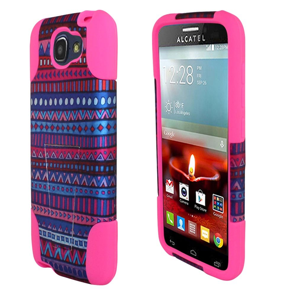 for (2014) Alcatel One Touch Fierce 2 7040T Pop Icon A564C ITUFFY 2items: Stylus Pen+Dual Layer Impact Resistance Plastic Cover Soft Rubber Kickstand ...