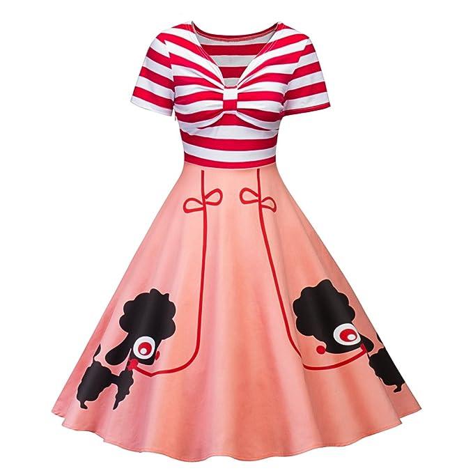 iBaste Vestido de moda Rayas de estilo vintage que incitan a los perros del animal doméstico