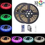5050 Led Strip Lights 32 8 ft 10M 600 LEDs RGB Colour Changing Outdoor Waterproof Ip65 Kit with 12v Power Supply 44key Remote and Receiver for Christmas Kitchen Wall Mirror Home Decora
