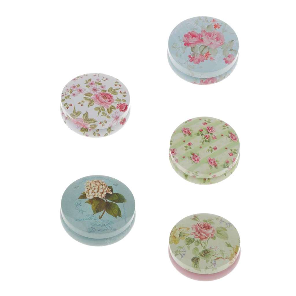 MonkeyJack 5 Piece Flower Floral Tinplate Tea Container Sugar Biscuits Sealed Cans