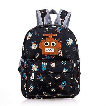 da4b18326f Flyingsky Cute Kindergarten Backpack Cartoon Robot Bookbag for Children 1-5  Years Old Toddler Kids Preschool Daypack (Black)  Amazon.co.uk  Luggage