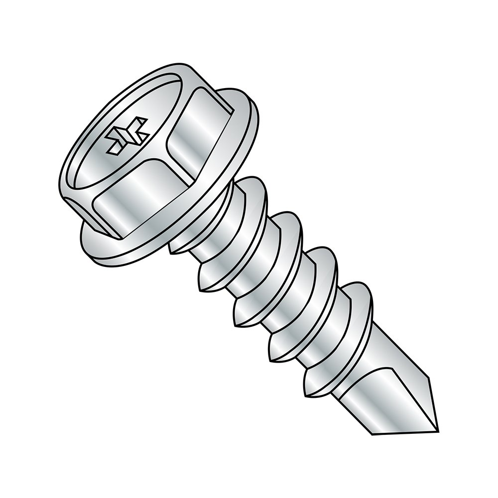 1//2 Length #6-20 Thread Size Steel Self-Drilling Screw Pack of 100 Hex Washer Head Phillips Drive Zinc Plated Finish #2 Drill Point