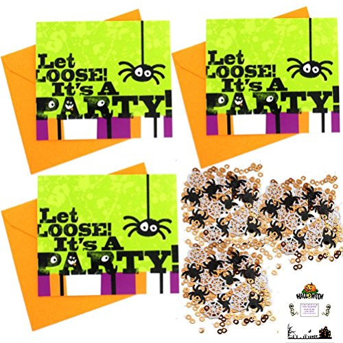 Halloween Party Invitations 30 Spider Invites With Envelopes & Confetti (Halloween Birthday Bash Invitations)