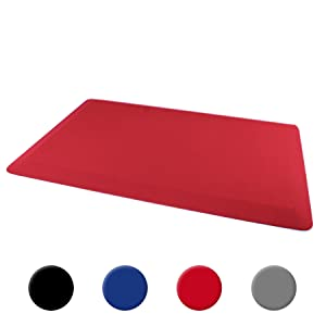 "Ultralux Premium Anti-Fatigue Floor Comfort Mat | Durable Ergonomic Non-Slip Standing Mat | 3/4"" Thick | 20"" x 32"" | Multi-Purpose Standing Support Pad | Home, Office, Garage, Kitchen Rug | Red"