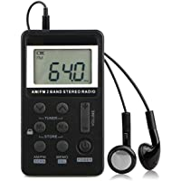 AM FM Pocket Radio Portable Digital Radio Mini LCD Screen Radio 2 Band Stereo Receiver Player with Preset Alarm Clock…