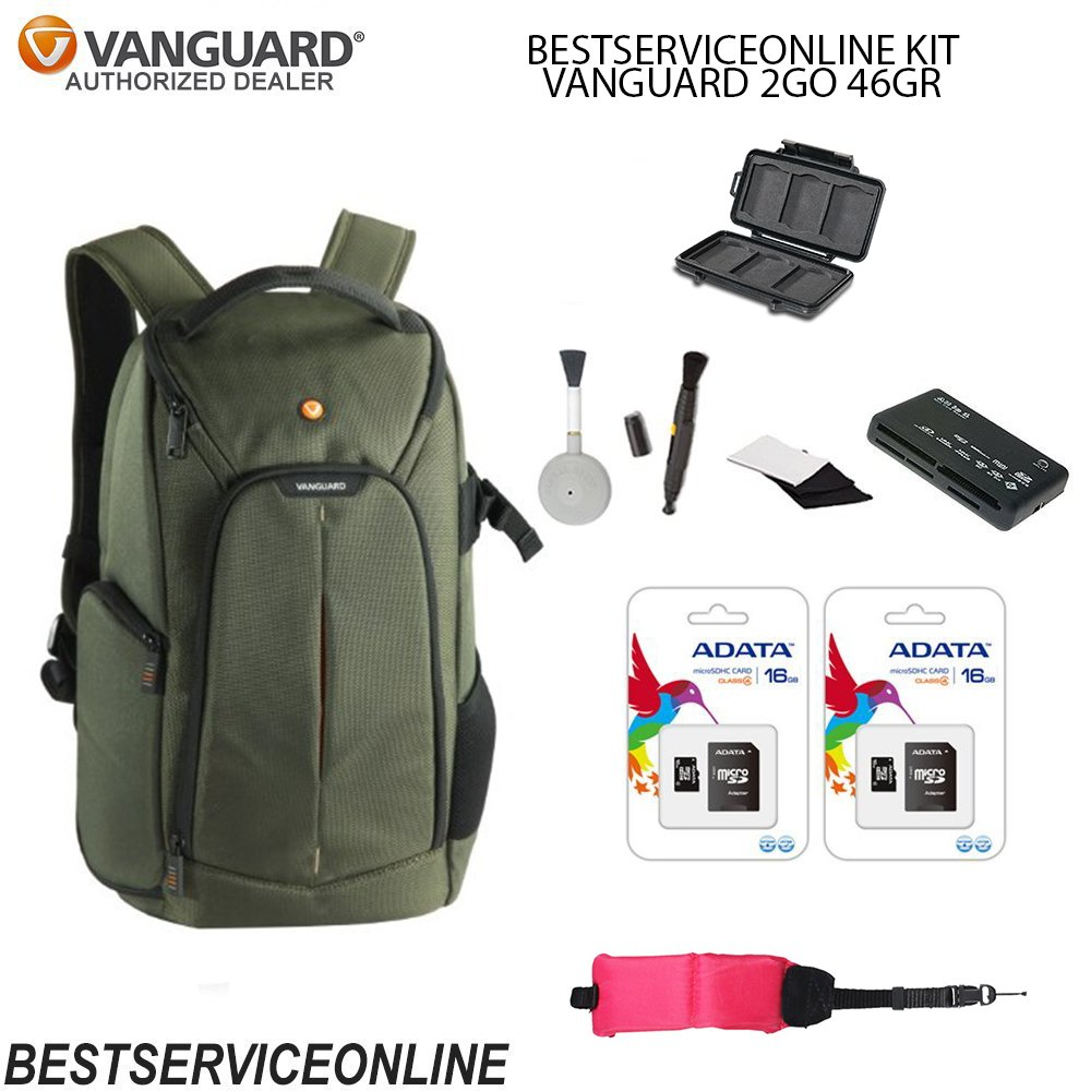 Vanguard 2GO KIT Includes: Vanguard 2GO 46GR BAG, Universal Memory Card Reader, Lens Cleaning Brush, Waterproof Floating Wrist Strap, and 2 16GB Micro-SD ADATA Cards FOR DLSR/MIRROLESS CAMERAS!