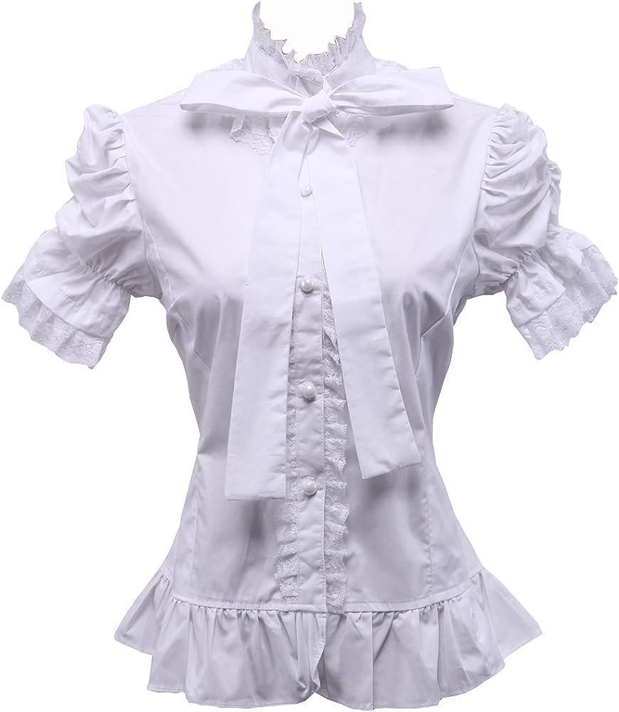 Blanca Algodón Volantes Stand-up Collar Encaje Victoriana Lolita Camisa Blusa de Mujer, XS: Amazon.es: Ropa y accesorios