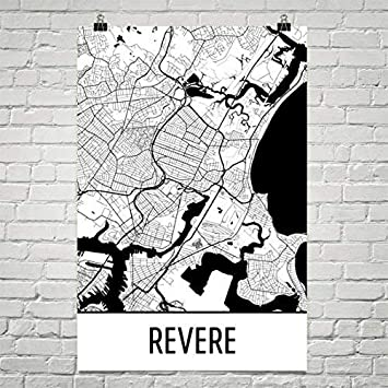 Modern Map Art Veneran a mapa de Ma, Revere lámina de Revere ...