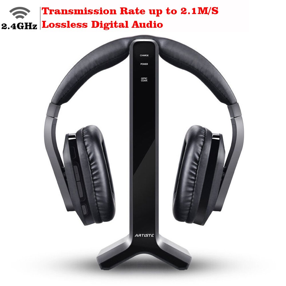 D1 Wireless TV Headphone 2.4GHz Digital Transmitter Charging Dock Multiple Headphones Connection Optical Coaxial RCA with Headphone Headset for Computer TV Radio by Artiste by ARTISTE