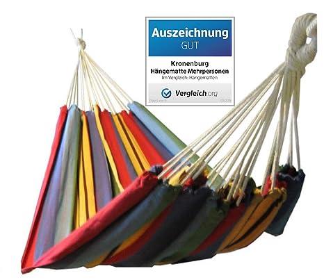 Kronenburg Hängematte Mehrpersonen 210 x 150 cm, Belastbarkeit bis 150 kg - Auszeichnung GUT - Vergleich.org
