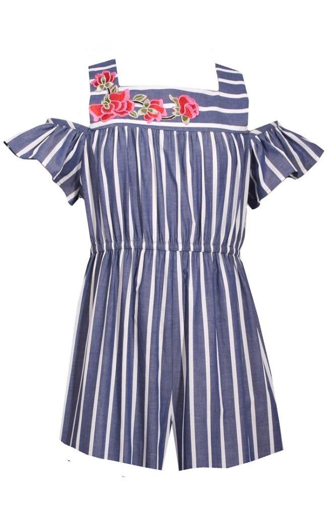 Bonnie Jean Navy & White Striped Chambray Romper, Size 5