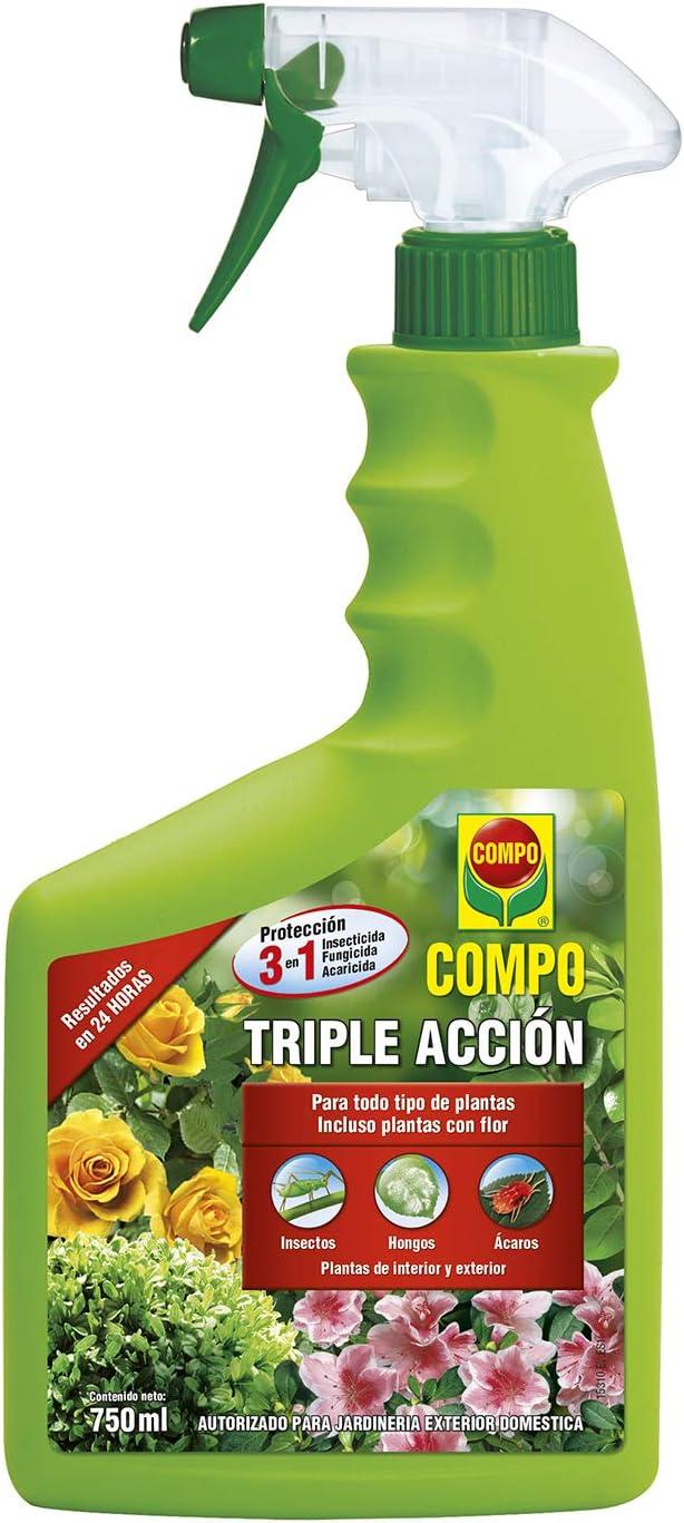 Compo Triple Acción Protección contra Insectos, Hongos y ácaros, para Plantas de Interior y Exterior, Resultados en 24h, Envase pulverizador, 750 ml: Amazon.es: Jardín