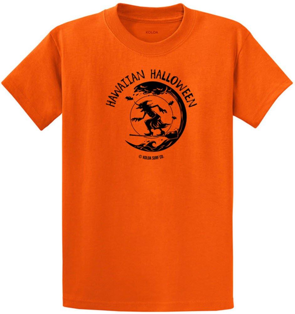Joe's USA Koloa Surf カスタムグラフィック重量系コットンTシャツ レギュラー、ビッグ、トール B074YMKFNV S,Orange With Black Surfing Halloween Witch Logo