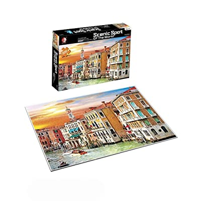 """Hatoys 500 Pieces Jigsaw Puzzles for Adults & Kids, 20"""" x 14.17"""" Large Size Shape of Buildings Jigsaw Puzzles Intelligent Game Novice Puzzles Jigsaw Puzzles Supplies (D): Sports & Outdoors"""