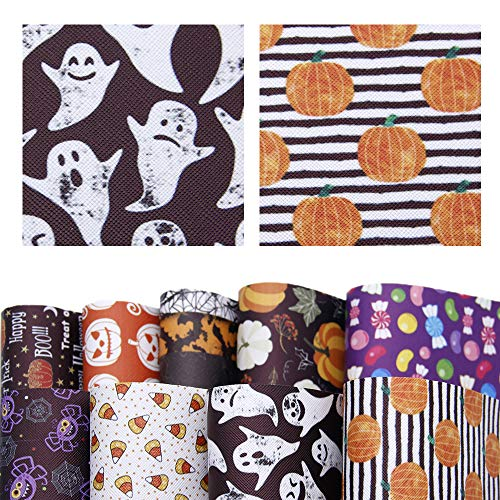 David accessories Halloween Pumpkin Candy Pattern Printed Faux Leather Sheets Fabric Non-woven Back 9Pcs 8