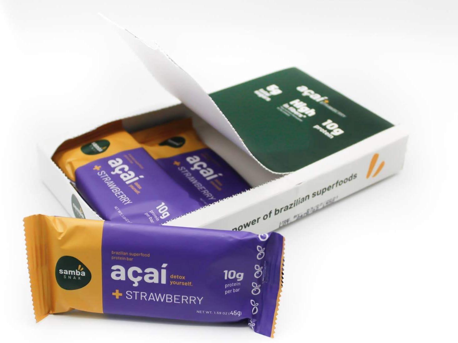 SambaSnax Keto-Friendly Protein Bars (6 Pack), Healthy Snacks Acai & Strawberry, Energy Booster, Low Sugar Brazilian Superfood
