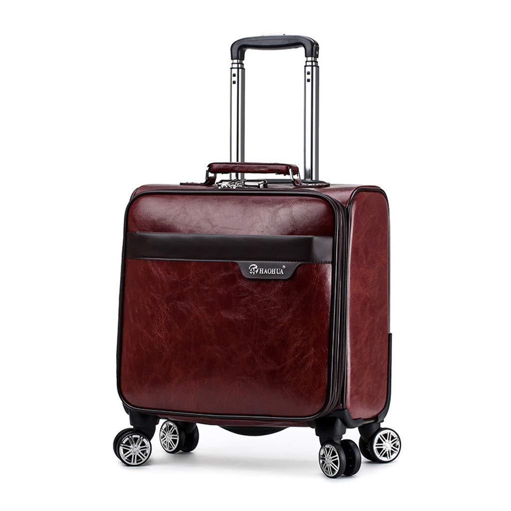 トロリーケース18インチスーツケースPUスピナーホイール出張旅行持ち込み手荷物ラップトップバッグ (色 : A)  A B07ML7XBTY