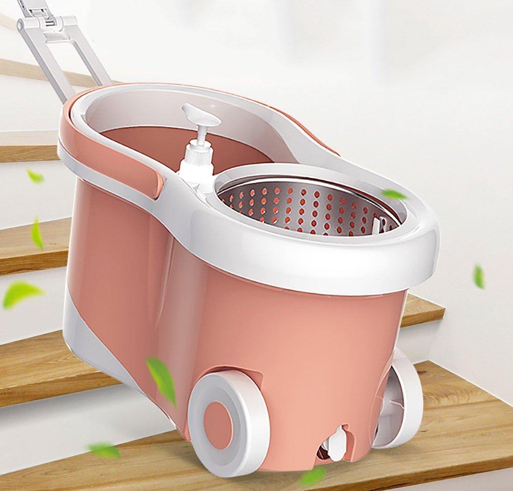 モップ完全洗浄システムモップヘッド+ 360°回転モップバケット時間と労力を節約ロータリーモップ B07FMNMY8S