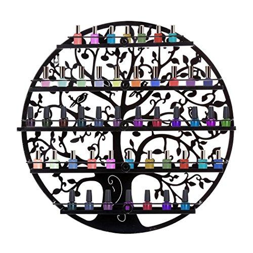 Lantusi Wall Mounted 5 Tier Nail Polish Rack Holder, Tree Silhouette Black Round Metal Nail Polish Storage Organizer Display, Great for Home, Business, Salon, Spa, and More (US STOCK) (Tree) by Lantusi (Image #2)