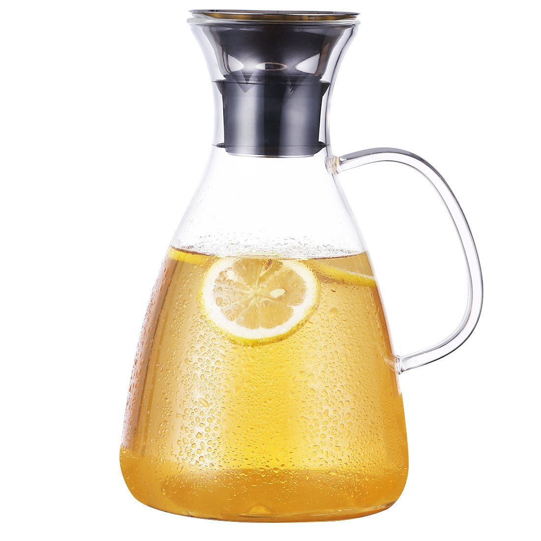 Goodeserve 55 oz Heat Resistant Borosilicate Water Carafe Glass Pitcher with Stainless Steel Flow Lid, Great for Juice and Iced Tea GD18436 (with Handle)