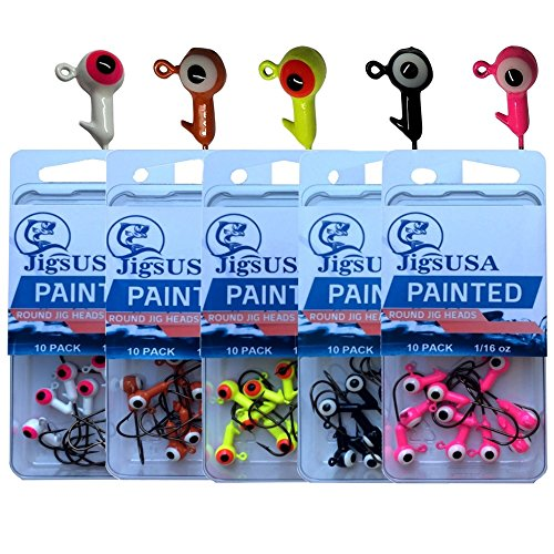 Round Jig Head (50pcs 100pcs 1/32oz 1/16oz 5 Color Painted Round Jig Heads Lead Weight (50 PACK, 1/16 oz Hook#2))