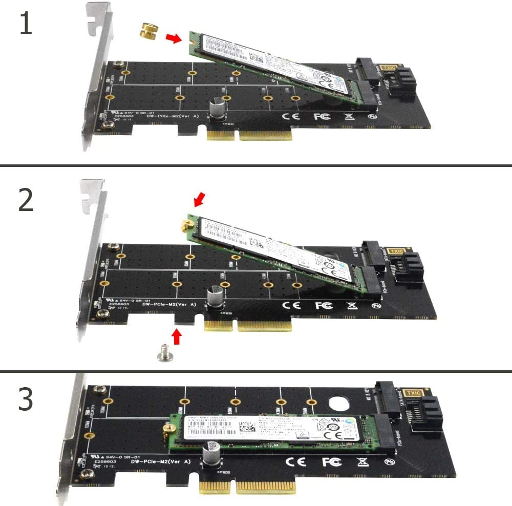 GODSHARK Dual M.2 PCIe Adapter M.2 NVME SSD or M.2 SATA SSD 22110 2280 2260 2242 2230 to PCI-e 3.0 x4 Host Controller Expansion Card with Low Profile Bracket for PC Desktop M Key B Key