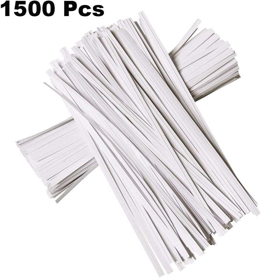 N// A 1500 Piezas 4.7 Pulgadas de Corbatas de Papel Kraft Corbatas de Pan Reutilizables Flexibles Blancas para Bolsa de Embalaje Valentines Gift Electronics Cords Blanco