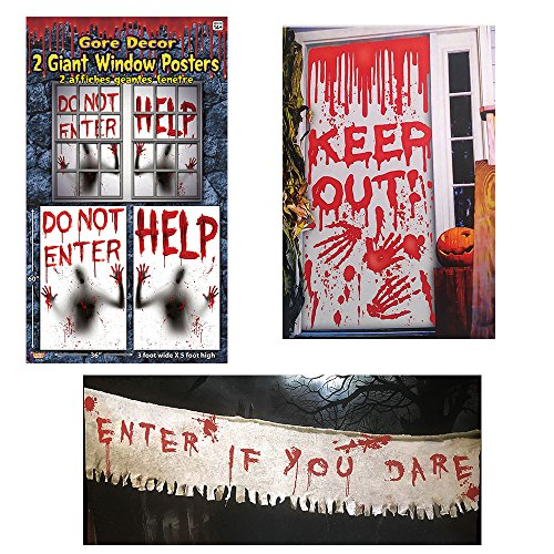 Haunted House Halloween Bloody decorating kit, Giant Window Posters, Door Cover and Cloth Banner