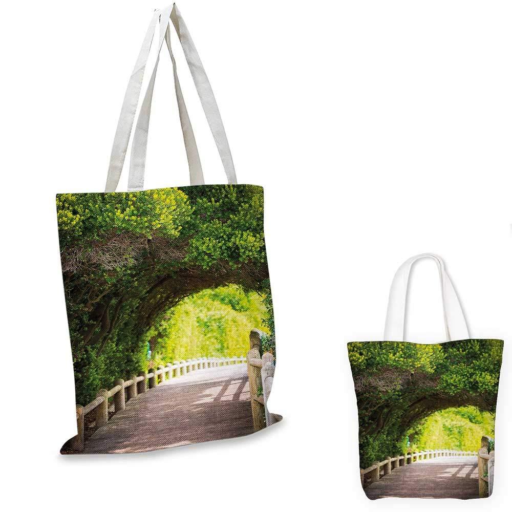 12x15-10 Forest canvas messenger bag Nature Boardwalk Through Green Archway Bridge Foliage Trees Sunny Summer Day canvas beach bag Beige Green Brown