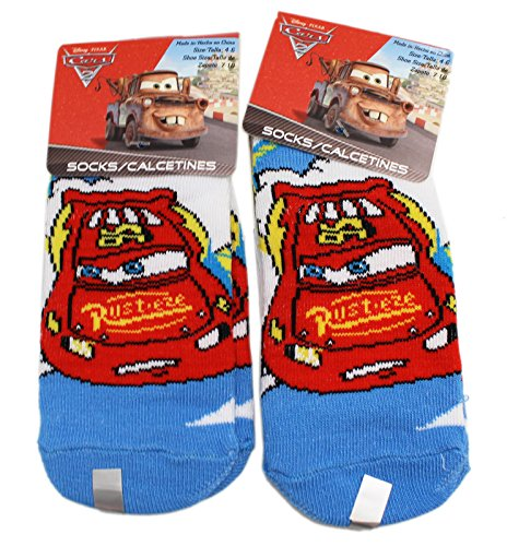Disney Pixar's Cars Lightning McQueen Blue Toe Kids Socks (Size 4-6, 2 Pairs)