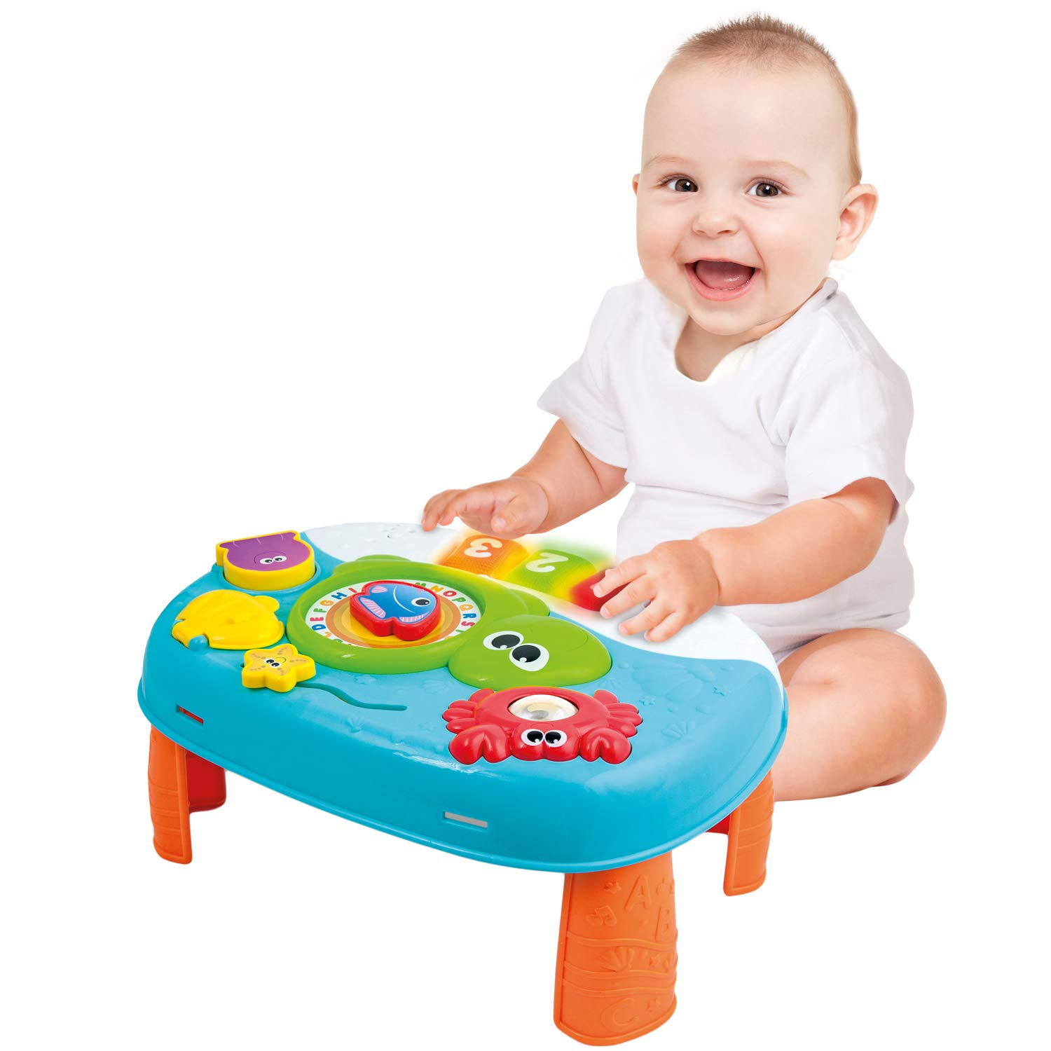 Activity Table for 1 Year Old and Up. 2-in-1 Baby Activity Center. Interactive Learning Toy Piano with Fun Ocean Characters for Toddlers and Kids Boxiki