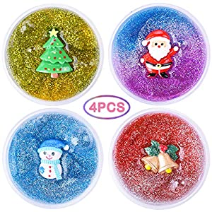 LEEHUR 2nd Generation Chrismas Party Favors Glitter Slime 4Pcs Clear Crystal Mixing Powder Sequins Stretchy Putty Stocking Stuffers Clay Sludge Squeeze Toys for Kid Adult Stress Relief Home Decoration