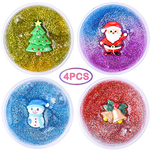 LEEHUR 2nd Generation Christmas Party Favor Glitter Slime 4Pcs Clear Crystal Mixing Powder Sequins Stretchy Putty Stocking Stuffers Clay Sludge Squeeze Toys for Kid Adult Stress Relief Home Decoration