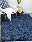 Unique Loom Solid Shag Collection Navy Blue Area Rug (4' x 6')