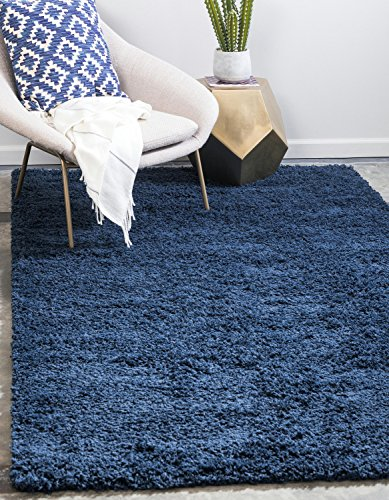 Royal Rug Blue (Unique Loom Solo Solid Shag Collection Modern Plush Navy Blue Rectangle (4' x 6'))
