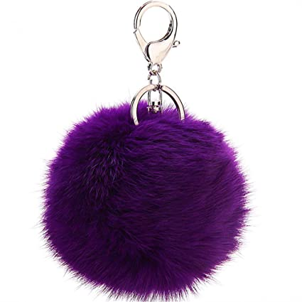 2db9e14fa1eb JewelBeauty Imitated Rabbit Fur Ball Pom Pom Key Chain Faux Fur Keychain  with Plush for Car