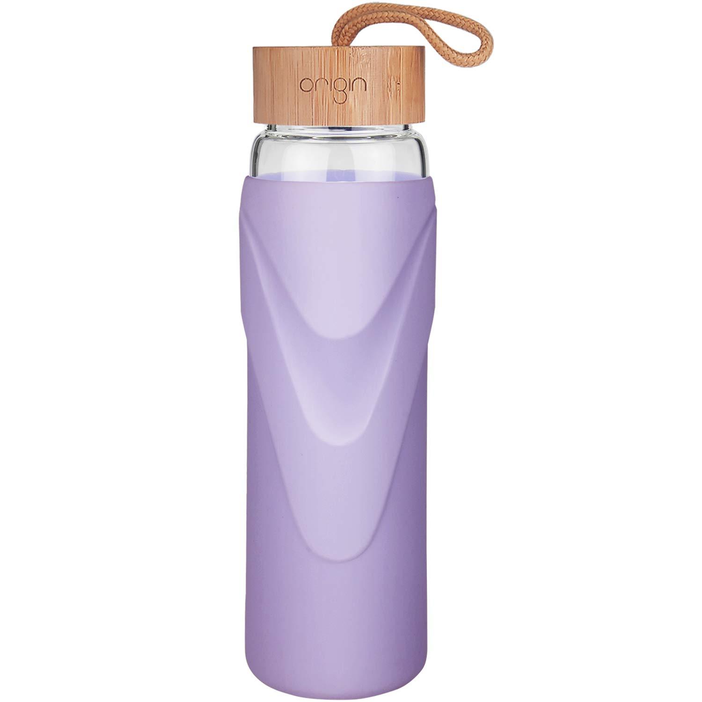 ORIGIN Best WIDEMOUTH BPAフリー ガラス製ウォーターボトル 保護用シリコンスリーブと竹製蓋付き 食器洗い機使用可 32オンス (ラベンダー) B07F1C1FRS 24オンス|ラベンダー ラベンダー 24オンス