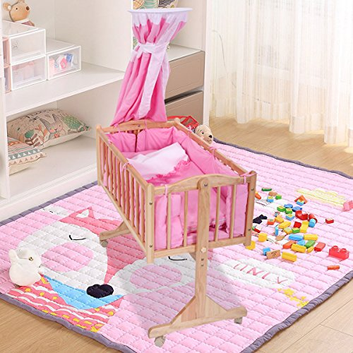 LAZYMOON Pine Wood Bassinet Cradle Child Nursery Side Bed Toddler Daybed Furniture w/ Canopy, Pink from LAZYMOON