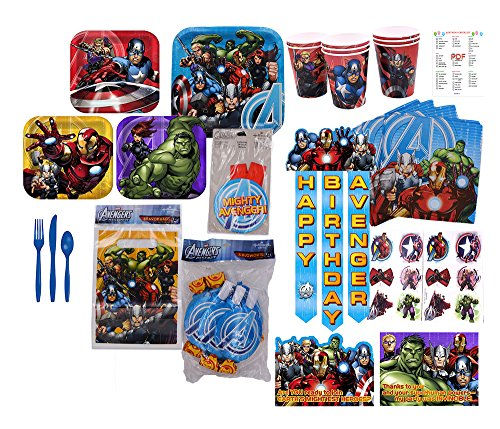 [Marvel Avengers Party Supplies 16 GUESTS] (Captain America Movie Treat Bag)