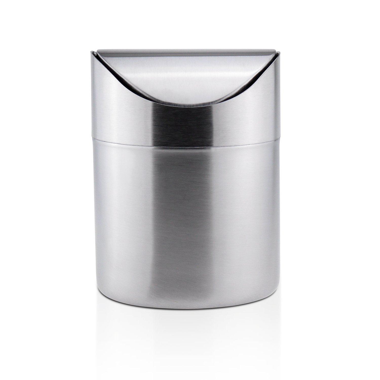 sanmersen Miniステンレスカウンタートップゴミ箱蓋、スモールデスクゴミ箱リサイクルTrash Binキッチンデスクトップバスルームオフィスくずかご1.5 L / 0.40 Gal B01J7SYZ56