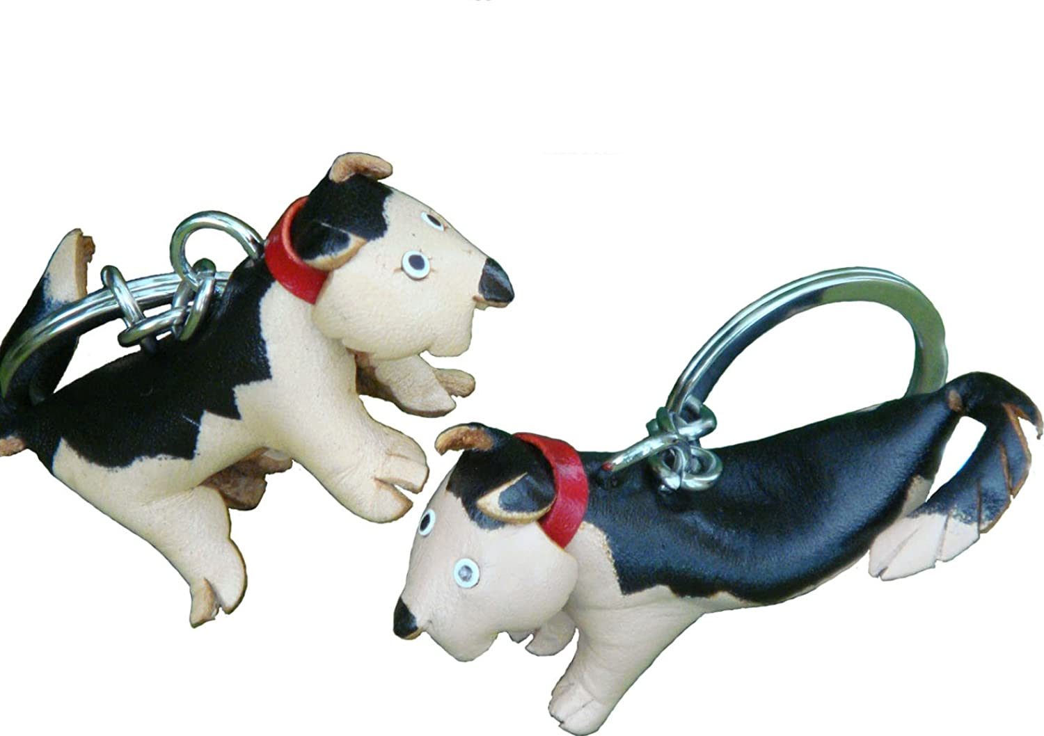 A Pair (2 Pieces) of Genuine Leather Keychain/bag-charm, black mix Chihuahua dog