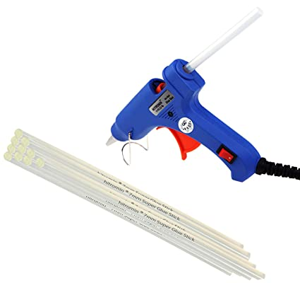 Glue Gun 20 W Mini With 10 Glue Sticks 7mm Hot Melt Blue Glue Gun ON OFF SWITCH & INDICATOR by Hitromin®