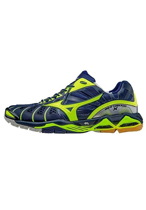 Mizuno Wave Tornado X INTERNO piatto scarpa, dunkelblau - gelb