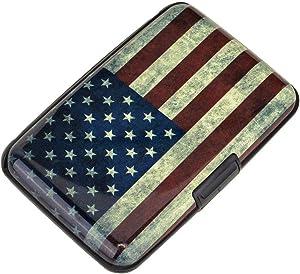 Elfish Mini RFID Aluminum Wallet Credit Cards Holder Business Card Case Metal ID Case for Men Women (Flag)