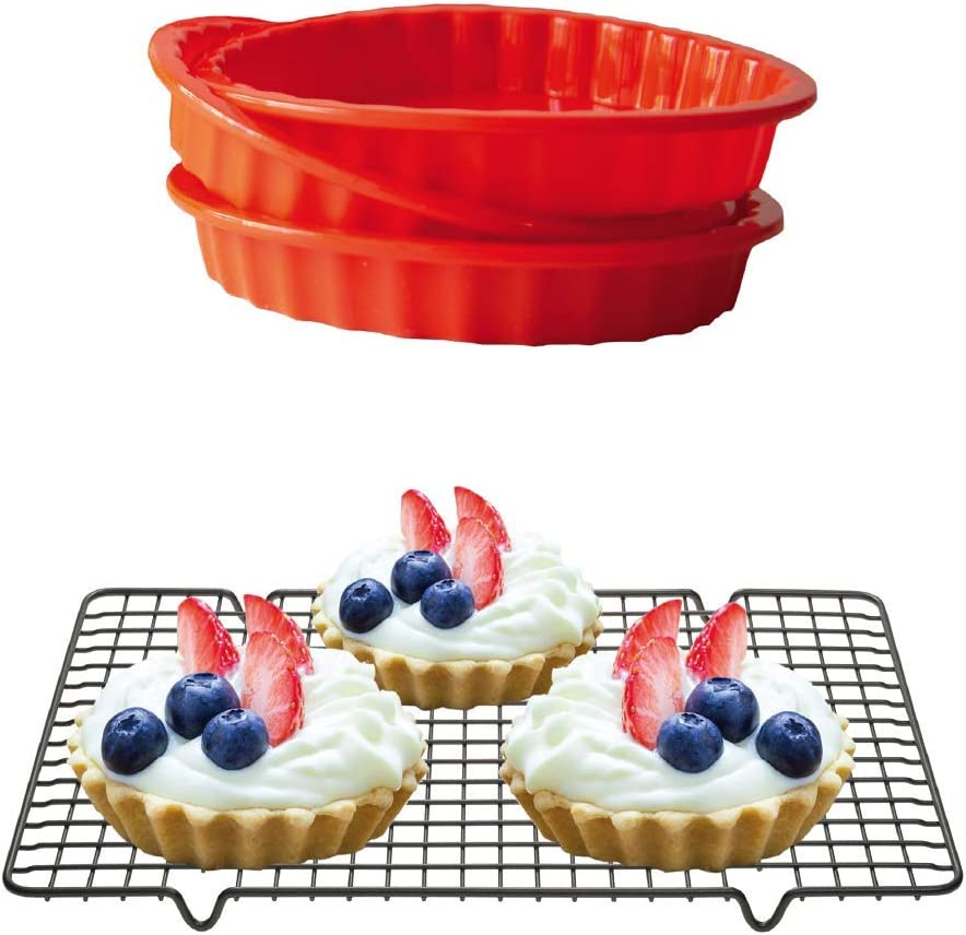 Silicone Mini Round Pie Pan - Non-Stick Silicone - Dishwasher and Microwave Safe - Set of 3