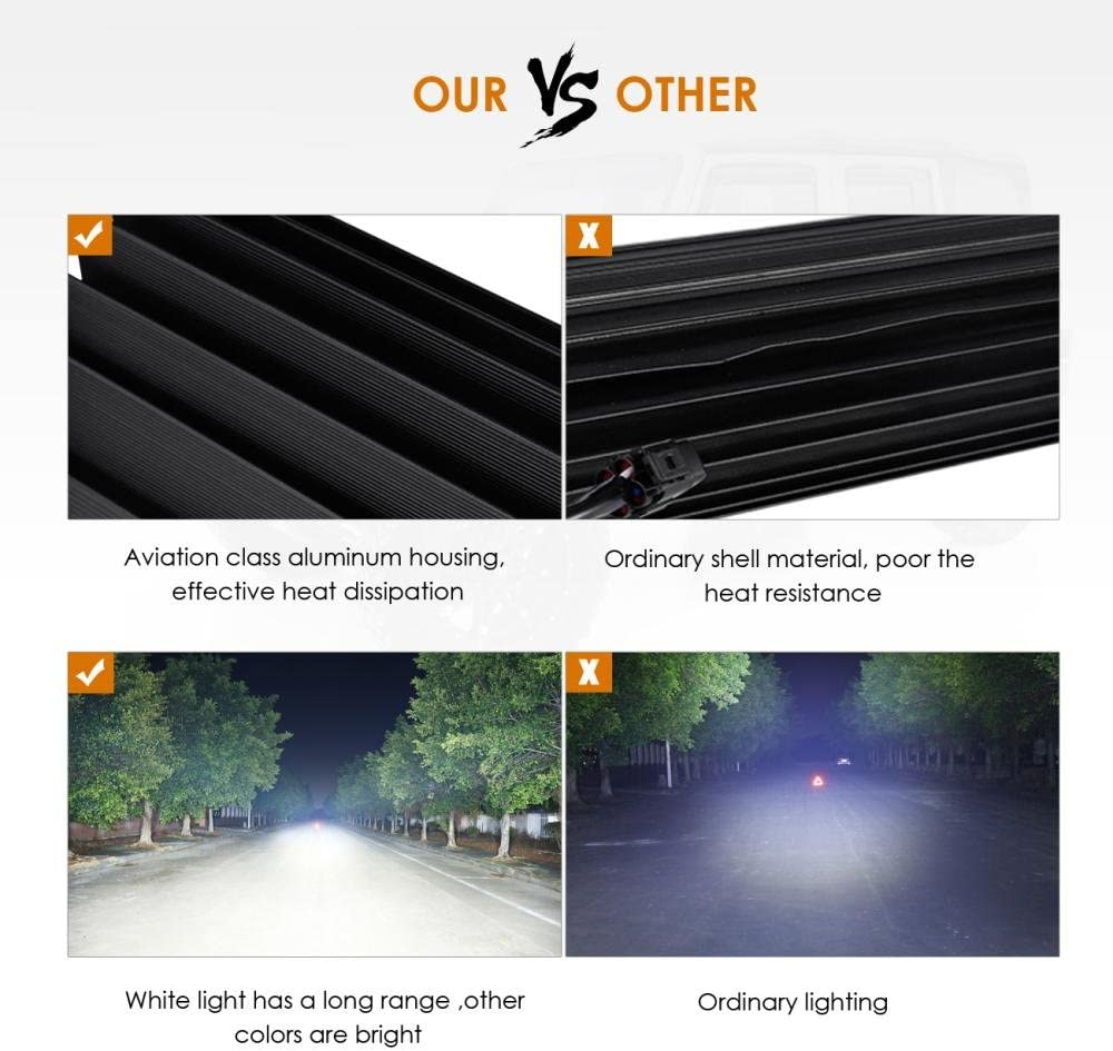 Auxbeam 32 Multi-color LED Light Bar V Series 180W 5D RGB Off road LED Bar Spot Flood Combo Beam with Bluetooth App /& Wiring Harness