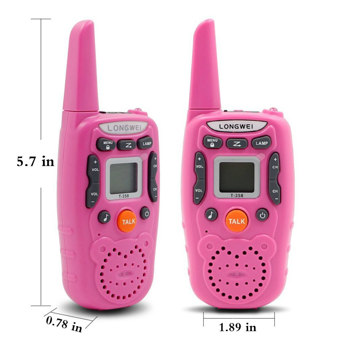 Kids Walkie Talkie Set 0.5W FRS/GMRS 22 Channel Two Way Radio Up to 3 Km Range for Children Camping Hiking(2PCS Pink) by longwei (Image #3)