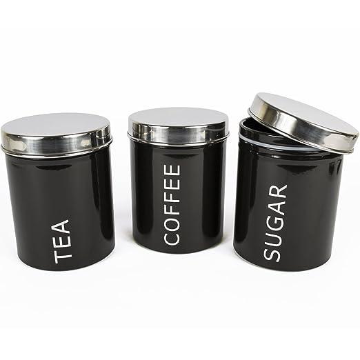 2 opinioni per Get Goods, set di 3barattoli per tè, caffè e zuccheroda800ml, nero