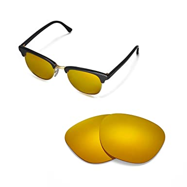 6d38b29ce0 Walleva Replacement Lenses for Ray-Ban Clubmaster RB3016 49mm Sunglasses -  Multiple Options (24K